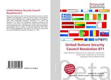 Bookcover of United Nations Security Council Resolution 871