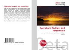 Bookcover of Operations Reckless and Persecution