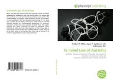 Bookcover of Criminal Law of Australia