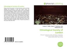 Bookcover of Ethnological Society of London