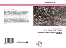 Bookcover of Generalizability Theory