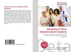 Bookcover of University of Tartu Viljandi Culture Academy