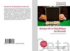 Banque de la République du Burundi kitap kapağı