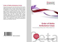 Bookcover of Order of Malta Ambulance Corps