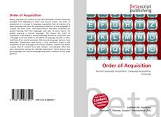 Bookcover of Order of Acquisition