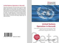 Bookcover of United Nations Operation in Burundi