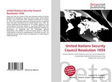 Bookcover of United Nations Security Council Resolution 1094