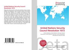 Buchcover von United Nations Security Council Resolution 1072