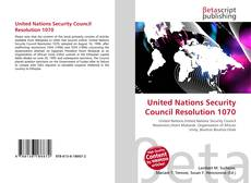 Bookcover of United Nations Security Council Resolution 1070