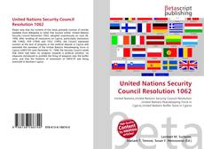 Buchcover von United Nations Security Council Resolution 1062