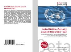 Bookcover of United Nations Security Council Resolution 1033