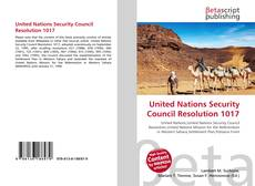 Buchcover von United Nations Security Council Resolution 1017