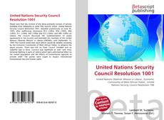 Bookcover of United Nations Security Council Resolution 1001