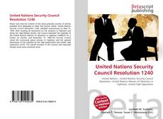 Couverture de United Nations Security Council Resolution 1240