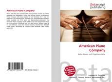 Bookcover of American Piano Company