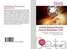 Bookcover of United Nations Security Council Resolution 1374