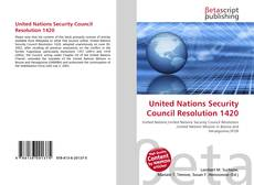 Bookcover of United Nations Security Council Resolution 1420