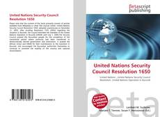 Buchcover von United Nations Security Council Resolution 1650