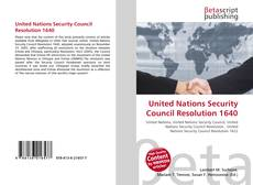 Bookcover of United Nations Security Council Resolution 1640