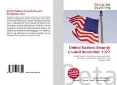 Buchcover von United Nations Security Council Resolution 1027