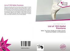 Bookcover of List of 1933 Ballet Premieres