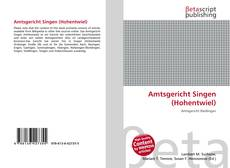 Bookcover of Amtsgericht Singen (Hohentwiel)
