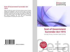Bookcover of Seat of Government Surrender Act 1915