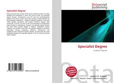 Bookcover of Specialist Degree