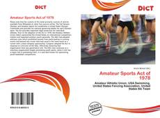 Buchcover von Amateur Sports Act of 1978