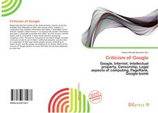 Bookcover of Criticism of Google