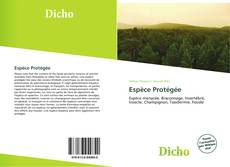 Espèce Protégée kitap kapağı