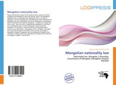 Bookcover of Mongolian nationality law