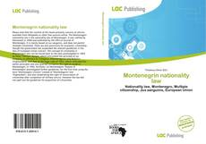 Bookcover of Montenegrin nationality law