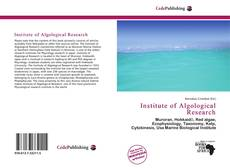 Bookcover of Institute of Algological Research