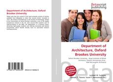 Обложка Department of Architecture, Oxford Brookes University