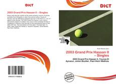 Bookcover of 2003 Grand Prix Hassan II – Singles