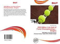 2003 Miller Lite Hall of Fame Championships – Singles kitap kapağı