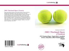 Bookcover of 2003 Thailand Open (Tennis)