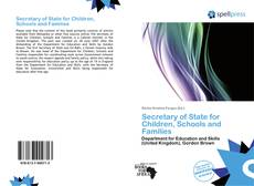 Bookcover of Secretary of State for Children, Schools and Families