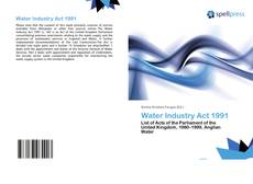 Bookcover of Water Industry Act 1991
