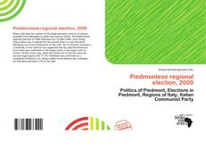Bookcover of Piedmontese regional election, 2000