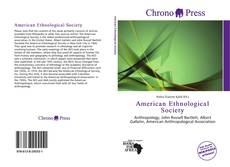 Bookcover of American Ethnological Society
