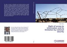 Capa do livro de Right of access to information and its limitation by national security
