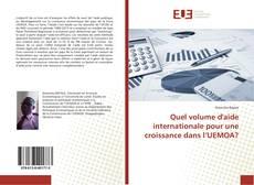 Quel volume d'aide internationale pour une croissance dans l'UEMOA? kitap kapağı