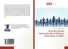 Bookcover of la justice pénale internationale et l'Afrique: entre espoir et rejet?