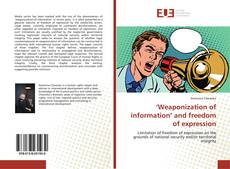 Buchcover von 'Weaponization of information' and freedom of expression