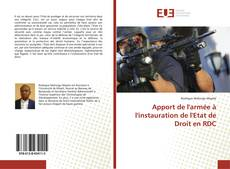 Copertina di Apport de l'armée à l'instauration de l'Etat de Droit en RDC