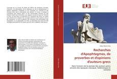 Capa do livro de Recherches d'Apophtegmes, de proverbes et d'opinions d'auteurs grecs