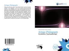 Buchcover von Anlage (Pädagogik)