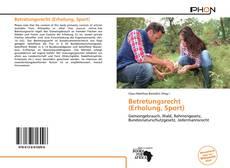 Capa do livro de Betretungsrecht (Erholung, Sport)